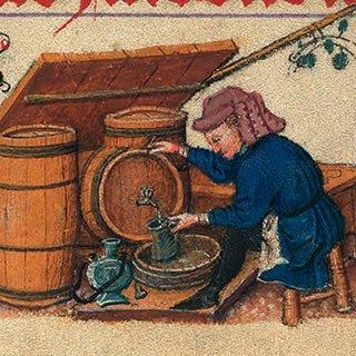 wijnhandelaar in de Middeleeuwen